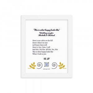 framed custom wedding song to show example of art, lyrics and presenation