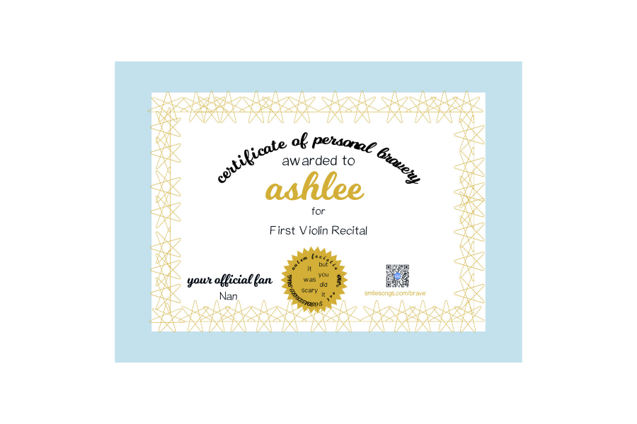 blue, gold and white certificate of personal bravery with name, act of bravery and official fan details filled in to show example of finished product