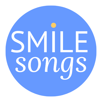 bright blue smile songs logo circle with white typography and yellow dot above the i in Smile circle with white type that reads Smile Song with yellow dot over the i