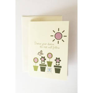 green and pink flowers in flower pots with green hummingbird and sun illustration on pale green greeting card with typography dance your dance the rest will follow