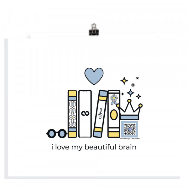 beautiful brain 8x10 art print with books, glasses, heart and crown design, qr code that plays song