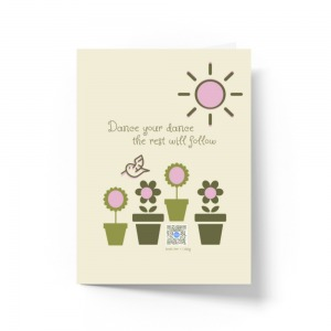 light green recycled paper greeting card with hummingbird and flower illustration, dance your dance the rest will follow typography and qr on flower pot of flower that sings song