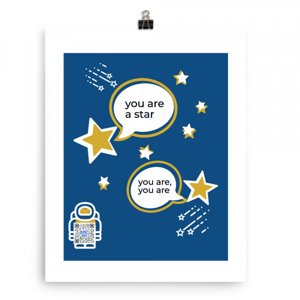 blue eco art print with illustration of happy stars complimenting each other
