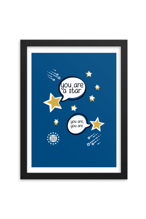 blue poster with stars with speech bubbles saying You are a Star, you are, you are to show QR code that plays song and artwork