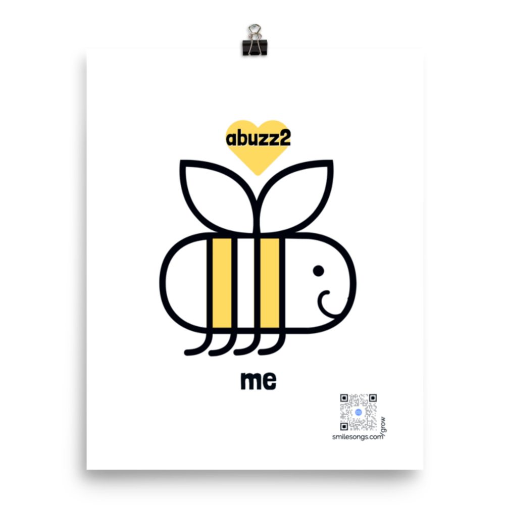 illustration of smile black white and yellow bee with abuzz in a heart overhead and me below, qr code lower right in honeypot plays song written for this poster