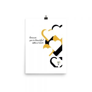 white poster with staggered vertical row of black, white and gold hearts down right side and typography to their left on three lines, centered: because you're beautiful with a y-o-u; qr code lower right over letter u inside bottom-most heart shape