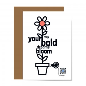 front of inspirational floral greeting card to show design