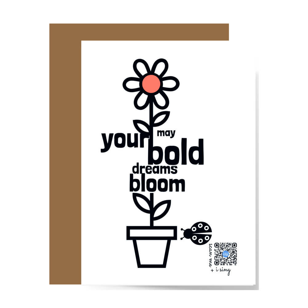 bold dreams bloom greeting card front