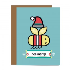 santa hat wearing smiling bee wearing striped holiday sweater flying over banner that says bee merry to show holiday card variation