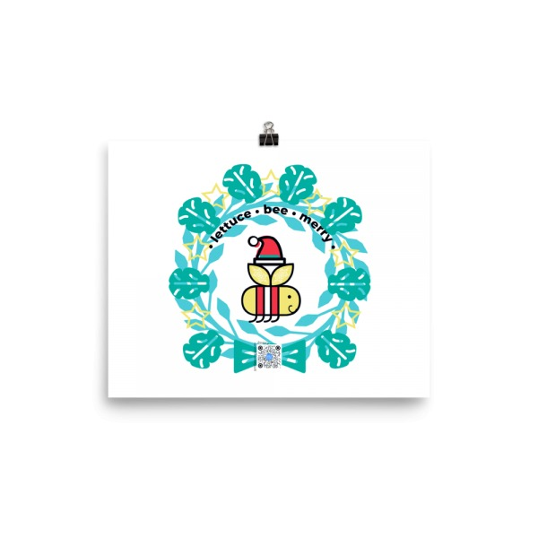 lettuce bee merry wall art print on tree free cotton paper features bee with santa hat in lettuce leaf wreath