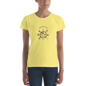 close up of woman wearing yellow t shirt with thinking girl graphic design and Introvert AF typography in black
