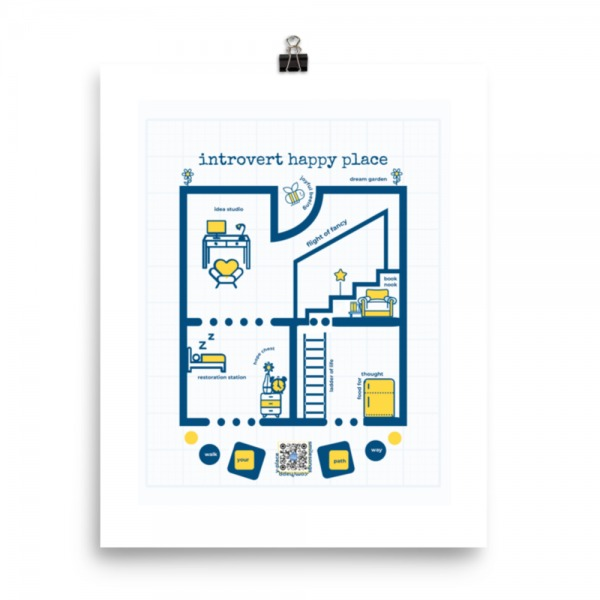 navy and yellow design on white graph paper background shows rooms with introvert friendly descriptions like idea studio, restoration station, food for thought with traditional home blueprint layout, qr code lower center plays ong