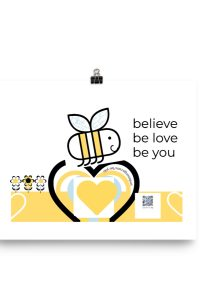 Happy Bee cotton art print