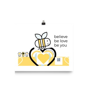 Happy Bee cotton art print