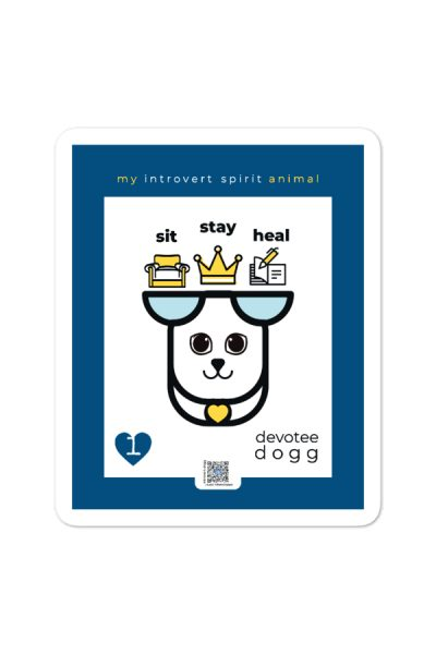 blue white and yellow introvert devotee dogg sticker to show design and qr that sings
