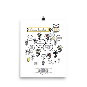 illustration of smiling bee pulling banner that says thanks bunches over field of talking flowers saying things like So appreciate you, hey bud! And other punny sweet ways of saying thanks. QR code at bottom surrounded by bees plays thank you song