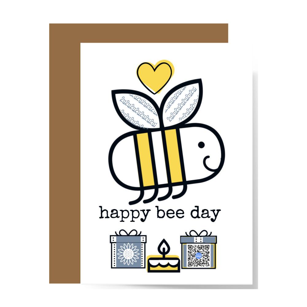 happy bee day card mockup