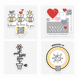 four diecut stickers shown together to illustrate contents of sticker pack