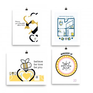 four 8x10 introvert themed art prints displayed together to show gift set and how they look together on wall