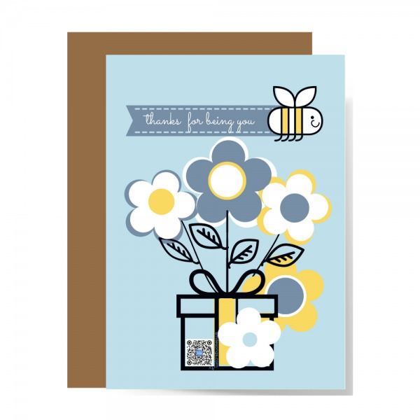 recycled paper thank you card with flowers, bee trailing banner with thanks for being you message and bunch of flowers with qr code in design of flower pot that plays thanks for being you song