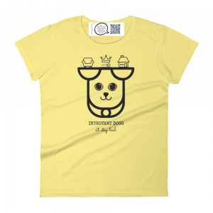 yellow cotton womens t shirt with inner spirit animal introvert dogg design and inside label with qr that plays song
