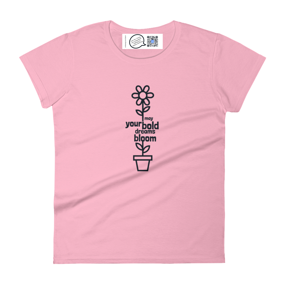 inspirational floral womens t with label