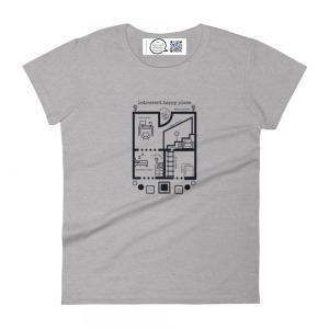 blueprint style t shirt with introvert rooms with puns to show design and label that plays song from qr