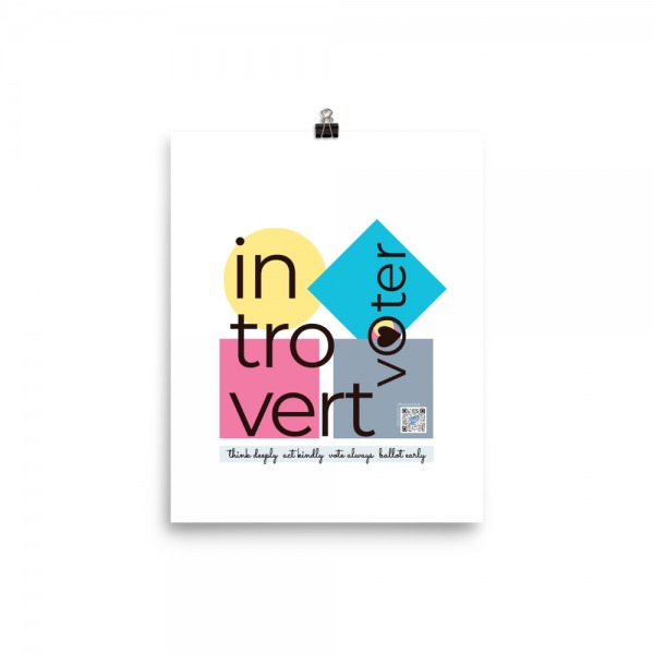 golden yellow, hot pink and bright blue shapes illustrate introvert casting ballot. typography, qr code celebrate introvert power of voting in words and song