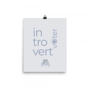 gray introvert voter art print with lavender typograpjhy and ballot box design with qr code that plays song representing ballot to show design