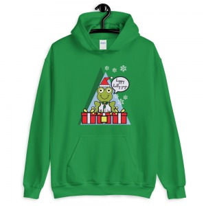 smiling frog in santa hat and holly decorated vest says Hoppy Holly Yays and bears gifts on sweatshirt front