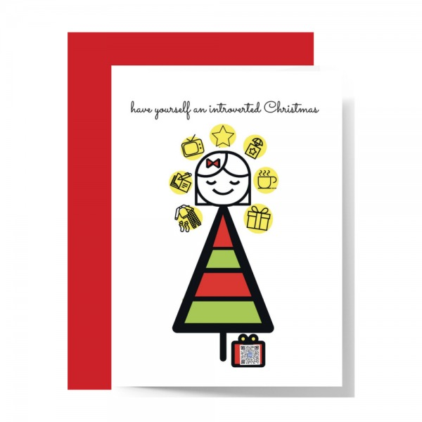 christmas tree with red and green stripes topped by smiling introvert girl with eyes closed surrounded by icons including pajamas, book, tv, star and present, qr code in box at base of tree plays introvert holiday song