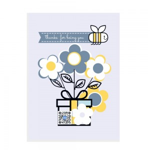 large rectangular vertical sticker with lavender background, flowers and bee pulling thanks for being you sign to show design and qr code on art that play songs