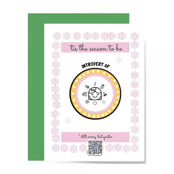 pink, yellow and white tis the season to be introvert af card with introvert girl and snowflake design, qr code plays introvert hloliday song