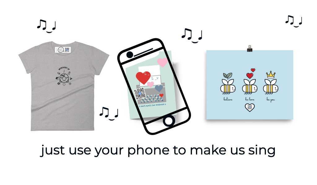 t shirt, greeting card and art print that sing with phone showing how qr sings from the art