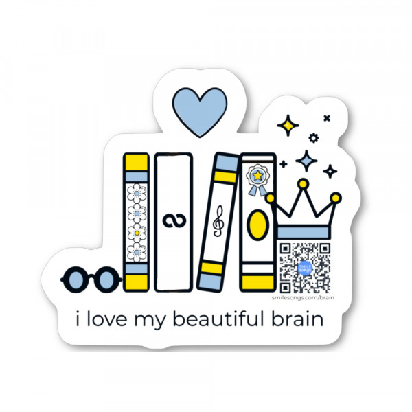 die cut vinyl sticker with row of books, heart, crown topped with sparkles and qr code that plays vocabulary song