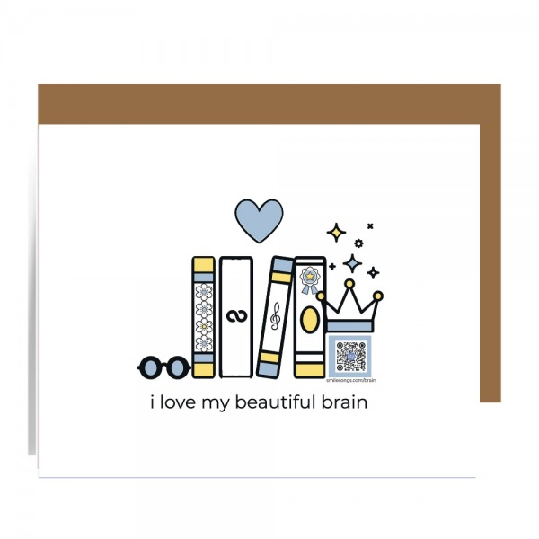 greeting card showing illustration of row of books with sunglasses, heart and crown above qr code which plays song about brain power when scanned