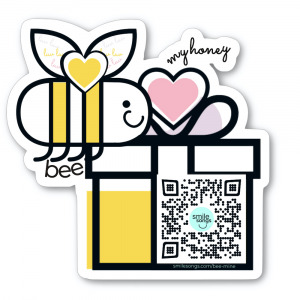 diecut sticker with smiling bee with heart between its wings and gift box with qr code that plays bee my honey valentine song, type says bee my honey, pink, yellow, black, lavender and white design