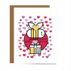 red, pink, purple hearts on card with smiling bee with heart in wings and gift box with qr that plays song; bee-youtiful besties typography