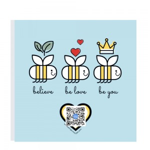 big sky blue square magnet with three smiling bees and heart with qr code that plays song