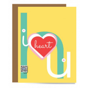 yellow i heart u singing greeting card to illustrate category of featured
