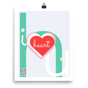 elephant made of typography h, i u and with hearts in center qr code on art plays song