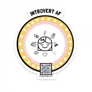 diecut round sticker with introvert af type and smiling eyes closed girl surrounded by icons, qr code that sings song