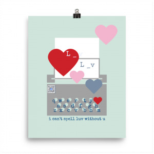 pale blue cotton paper art print with typewriter and hearts design, qr code that plays love song