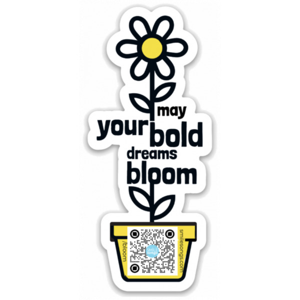 bold dreams bloom magnet with black, white and coral floral and typography as stem, qr code that plays bold dreams bloom song when scanned