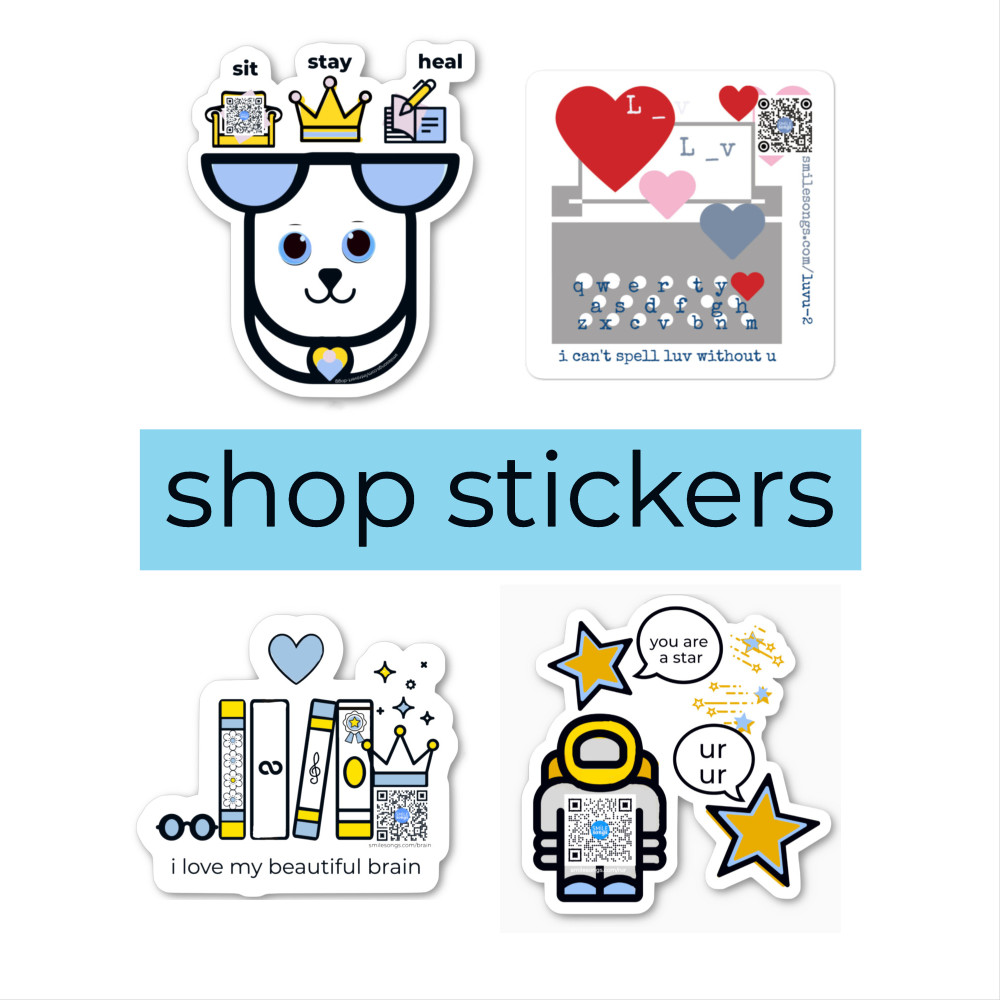 diecut singing stickers shop page with dog sticker, typewriter love pun sticker, brain power stickers and space explorer stars sticker