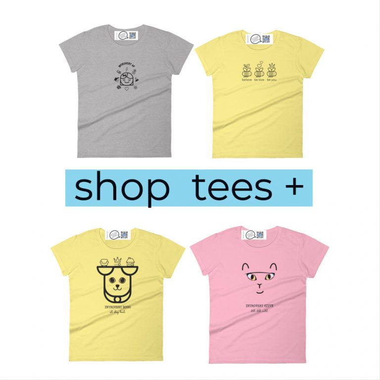 four tee shirts that sing from qr code on inside label to show category includes introvert AF t shirt, happy bees t shirt, spirit animal tees