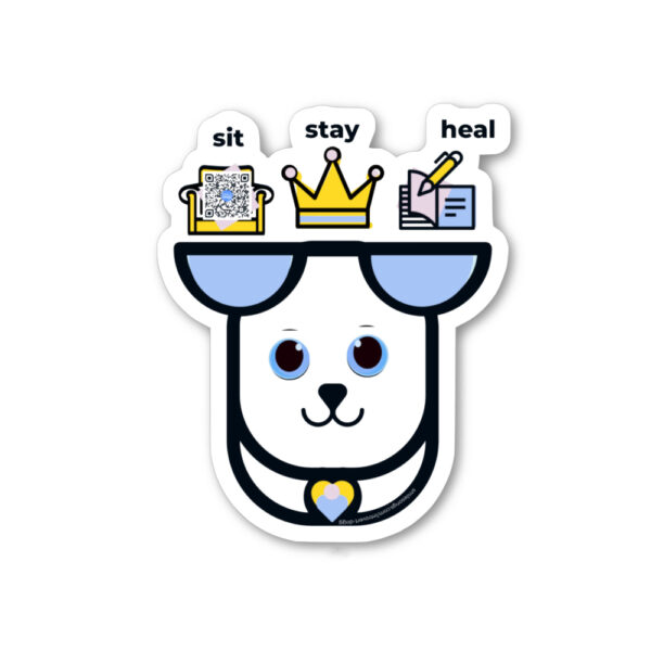 sit stay heal diecut sticker with gentle gazing dog with chair, crown and book overhead. qr on chair pilow play song