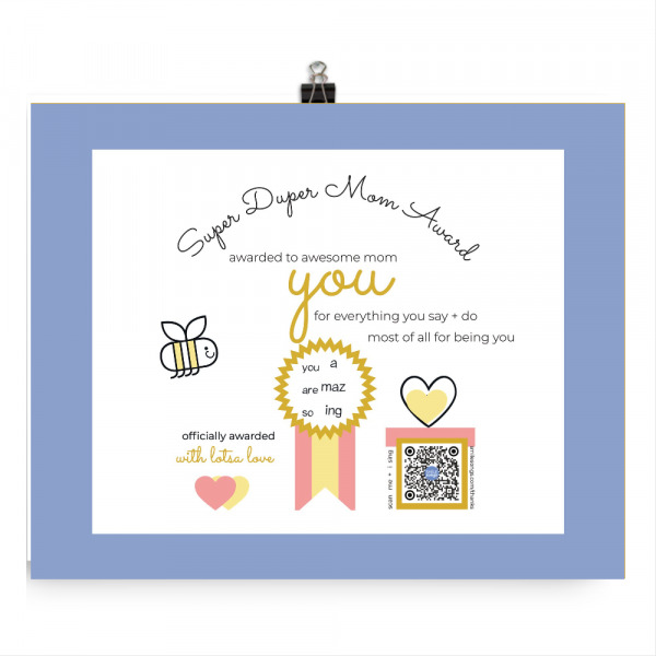 super duper mom award print with qr in gift box that sings song