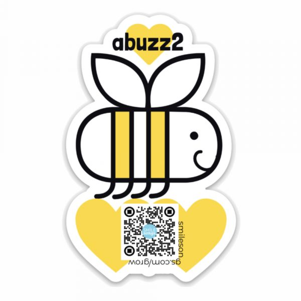 happy bee die cut magnet with hearts and qr code below that plays song; black, white and yellow artwork