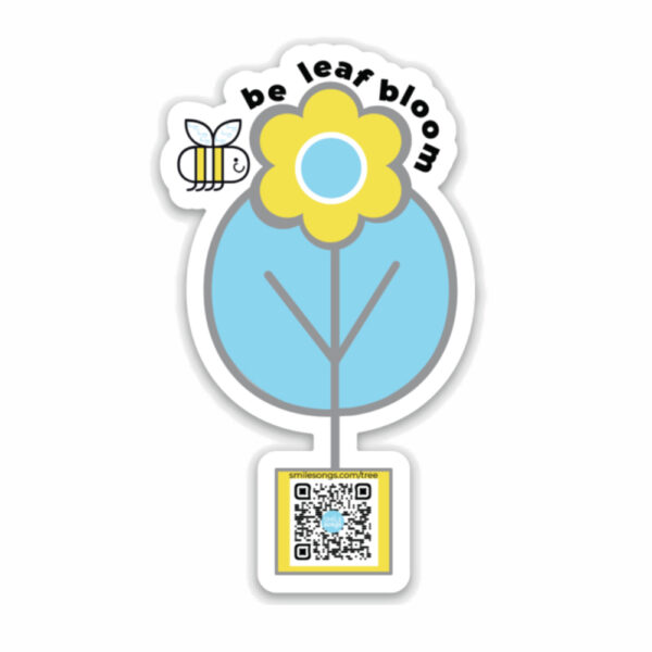die cut magnet with tree, flower in center and happy bee passing by; qr code in planter plays song